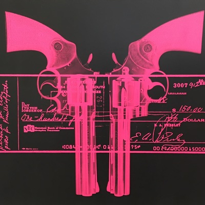 Elvis Gun Cheque - Pink by Russell Marshall