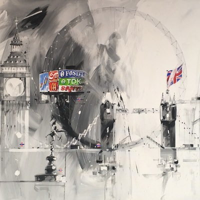 Pale Black and White London Montage by David Pilgrim
