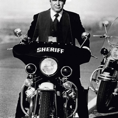 Sean Connery on Sheriff bike in Diamonds are Forever - 1971 by Terry O Neill