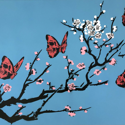 Skullerfly Cherry Blossom - Blue  by Rich Simmons