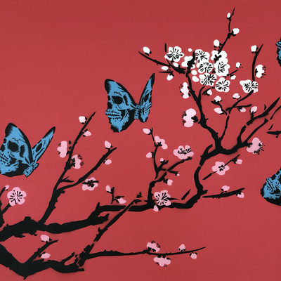 Skullerfly Cherry Blossom - Red  by Rich Simmons