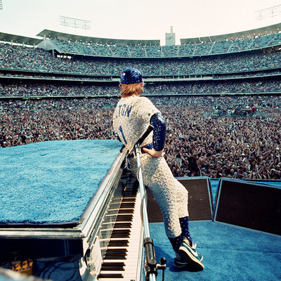 Elton John at the Dodgers Stadium - Colour - Los Angeles 1975  by Terry O Neill