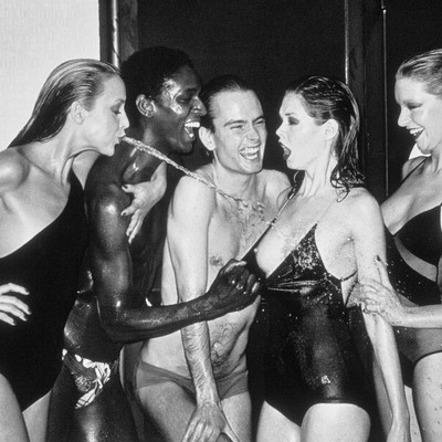 Jerry Hall Spitting by Helmut Newton