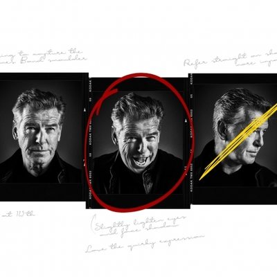 Pierce Brosnan with photographer notes by Andy Gotts