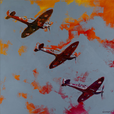 Spitfire Orange Trio by Richard Knight