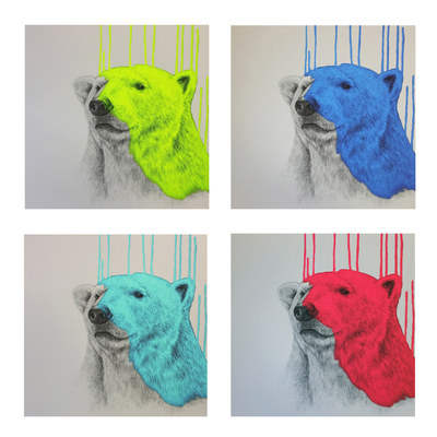Hey There Polar Bear (set of 4) by Louise McNaught