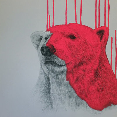Hey There Polar Bear Neon Pink by Louise McNaught