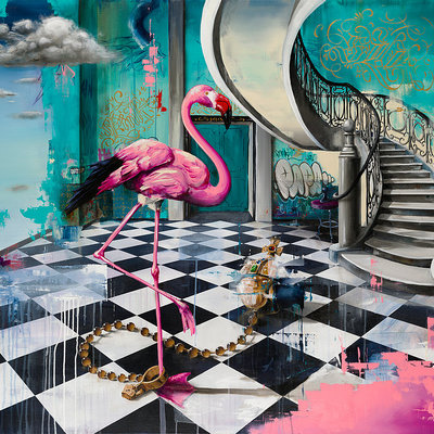 Flamingo and Orb by Tommy Fiendish
